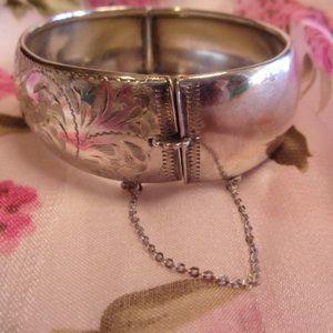 Vintage Jewelry - Sterling Silver Floral Hinged Bangle Bracelet